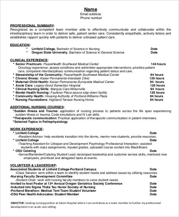 entry level nursing resume template