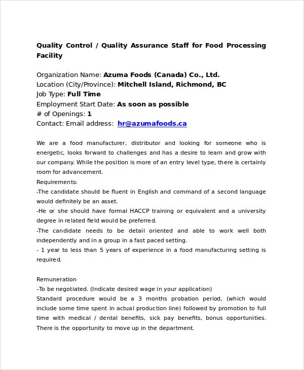 Food Quality Control Job Description