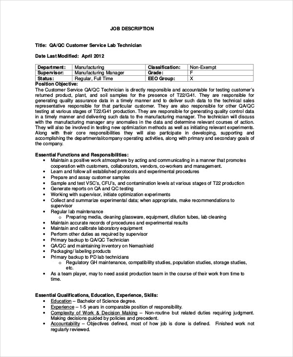 Quality Control Technician Job Description | Resume Cv Cover Letter
