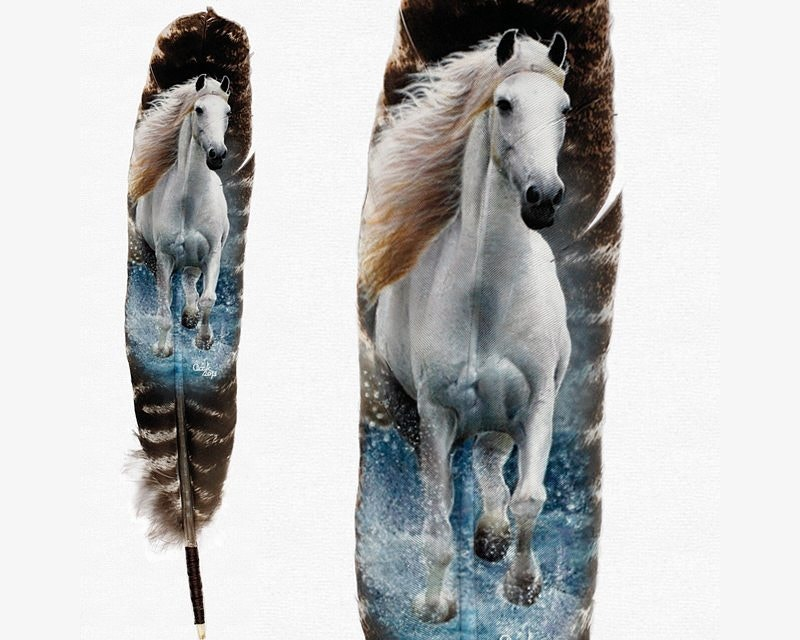 Feather Art of Running Horse