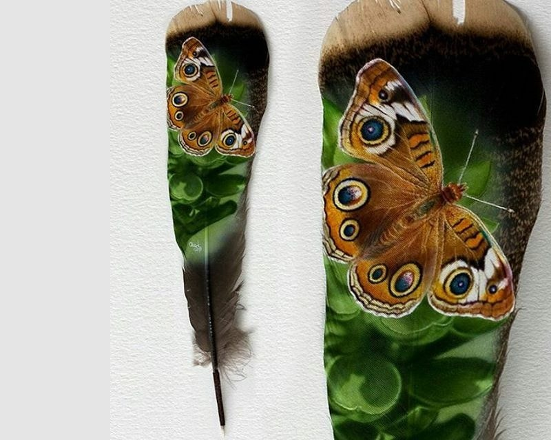 Feather Painting of Butterfly