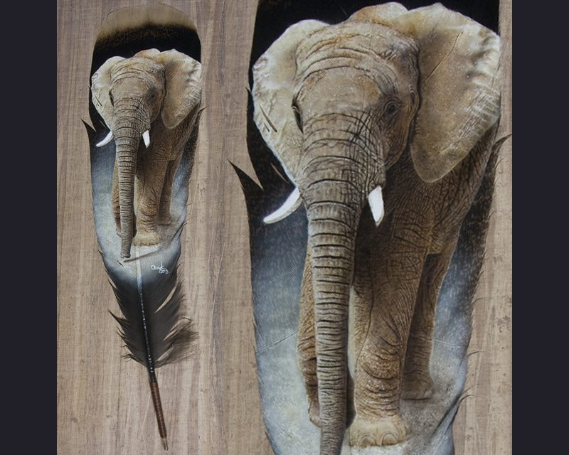 Feather Painting of Elephant