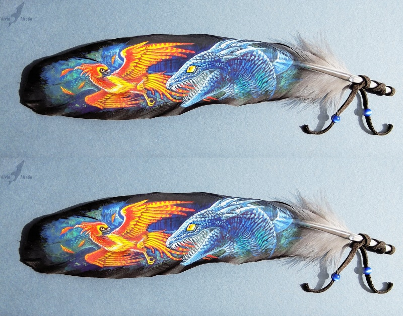 Feather Painting of Fighting Basilisk