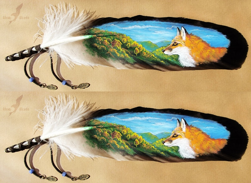 Feather Painting og Autumnal Fox