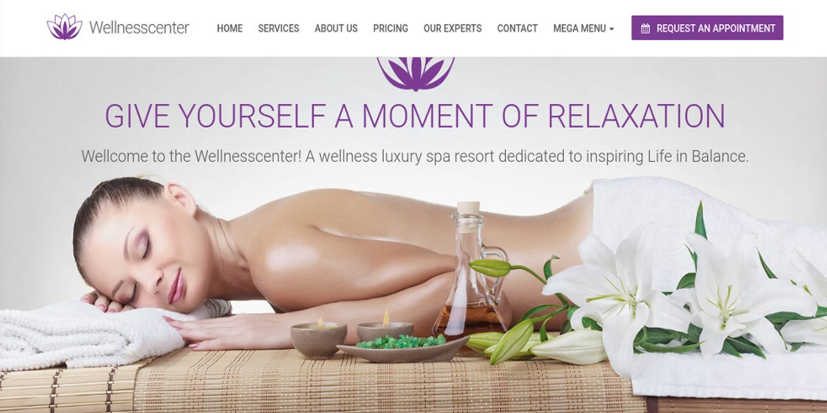 wellness center for beauty spa wordpress theme