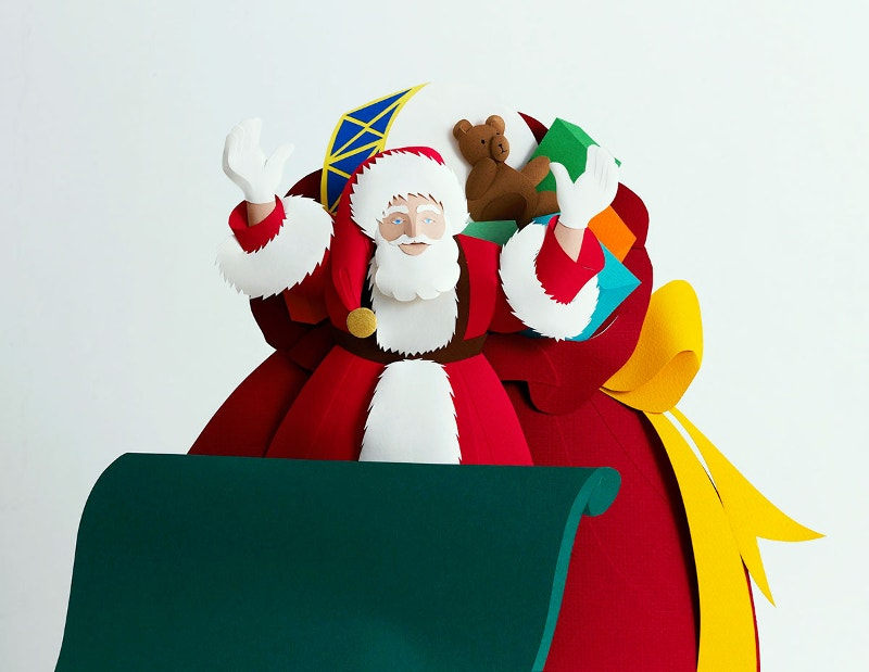 paper cut art of santa
