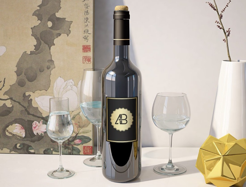 Awesome Wine Bottle Mockup