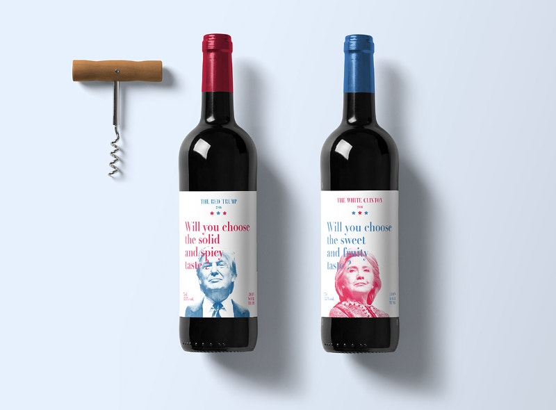 Trump & Clinton Winw Bottle Mockup