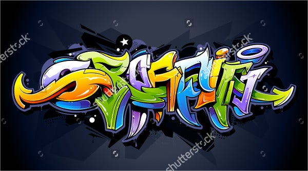 Bright Background Graffiti Lettering