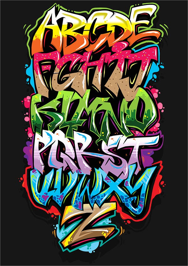 Digital Art Graffiti Alphabet Letter