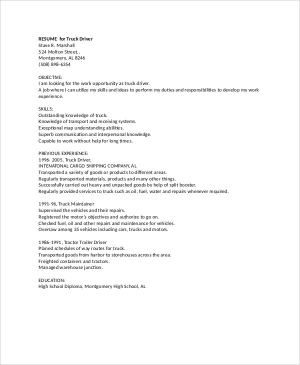 sample professional truck driver resume - Resume For Truck Driver