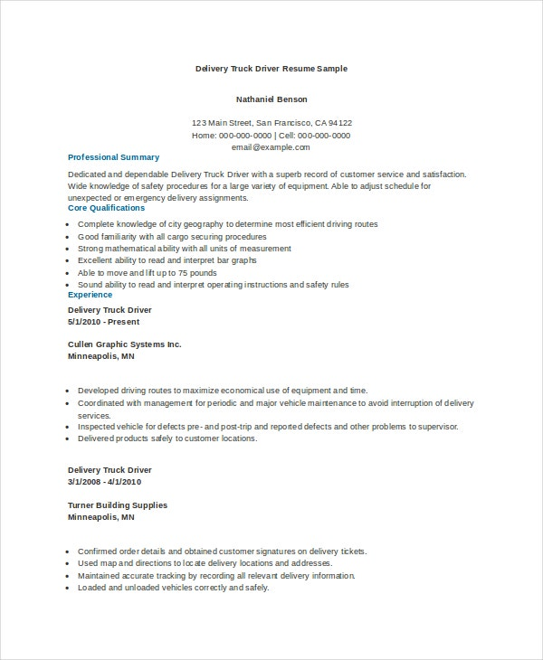 free truck driving resume templates delivery driver sample samples
