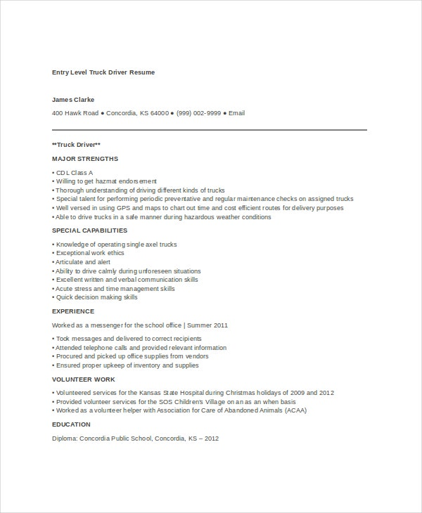 Entry Level Truck Driver Resume Template In Word Format