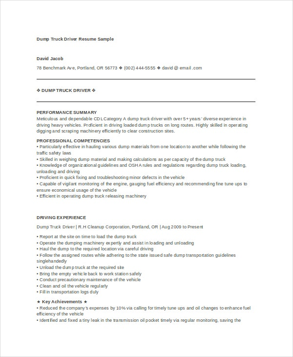 Dump Truck Driver Resume Sample  Truck Driver Resume Samples