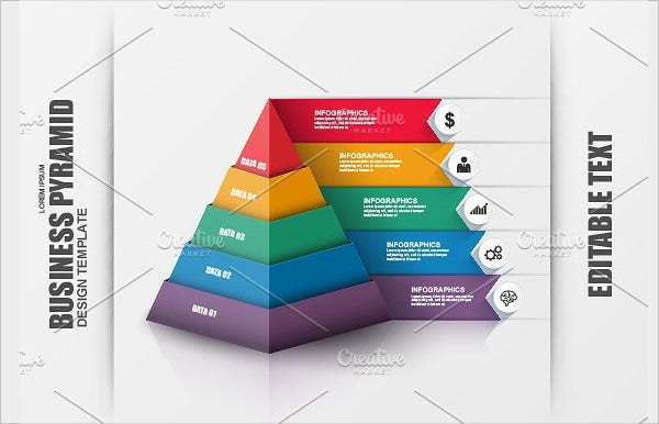 3D Pyramid Business PSD Infographic