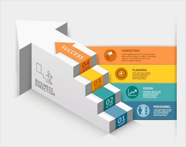 Business Staircase 3D Infographic Template