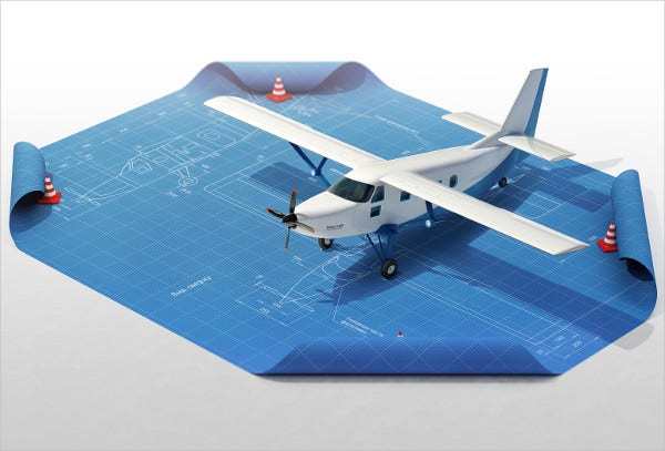 Plane Blueprint 3d Visualization infographic
