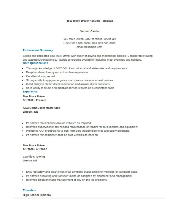 Truck Driver Resume Example  Resume Format Download Pdf