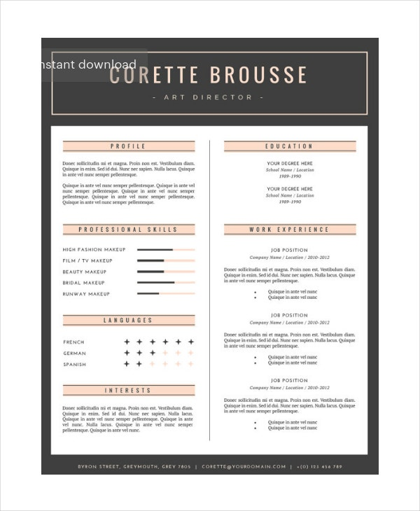 makeup artist resume in psd2