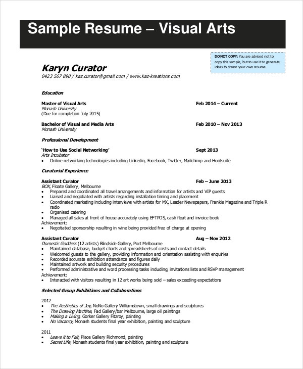 visual arts artist resume in pdf