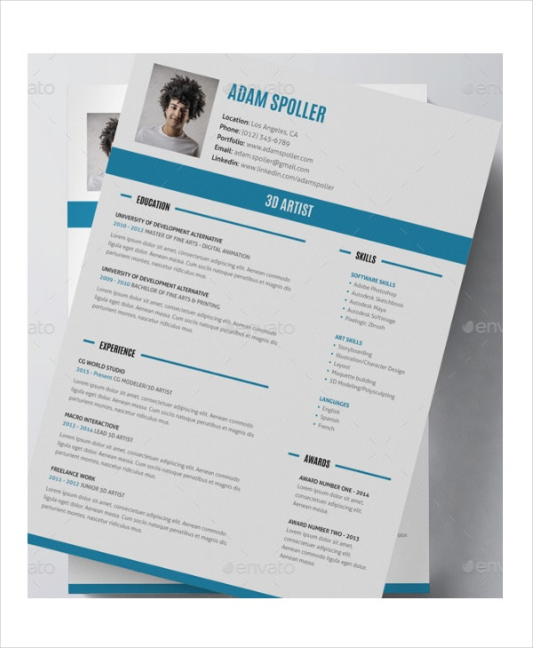 Artist Resume Example   Free Pdf Psd Documents Download