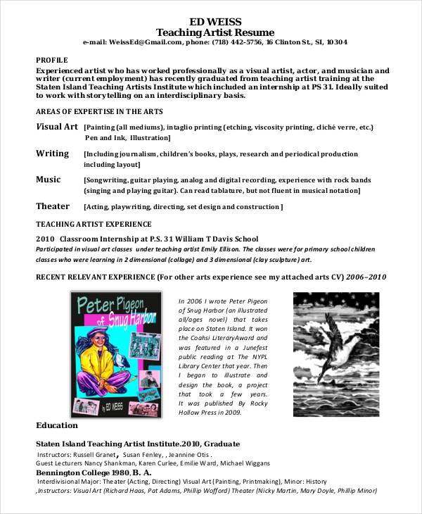artist resume example 11 free pdf psd documents download