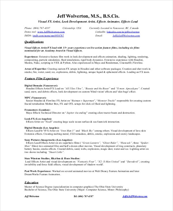 visual fx artist resume download