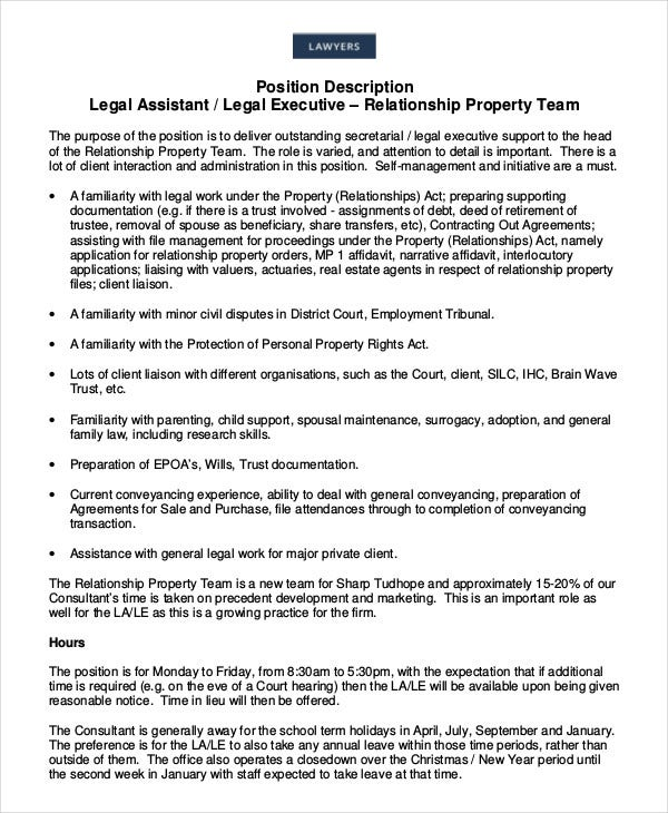 Legal Assistant Job Description - 8+ Free Word; Pdf Documents