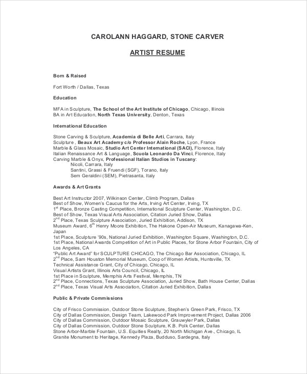 sculpture artist resume example