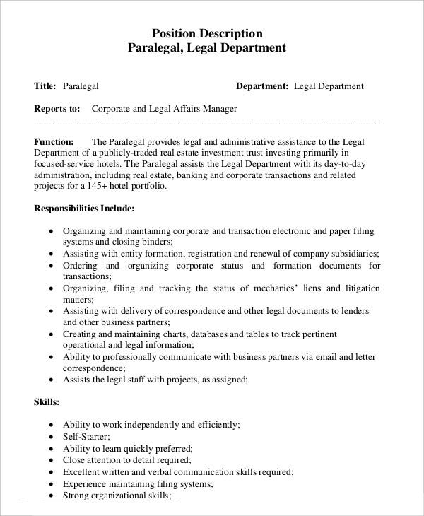 paralegal legal assistant job description - Khafre