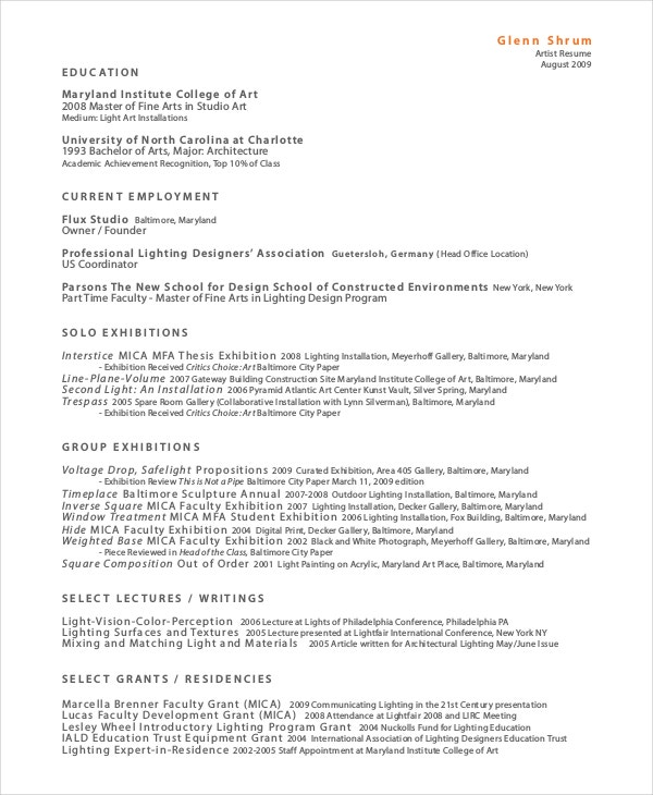 Artist Resume   An Art Resume How To Create A Photography