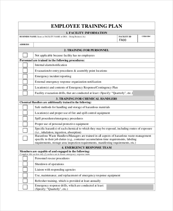 employee training plan template word - Dcbuscharter.co