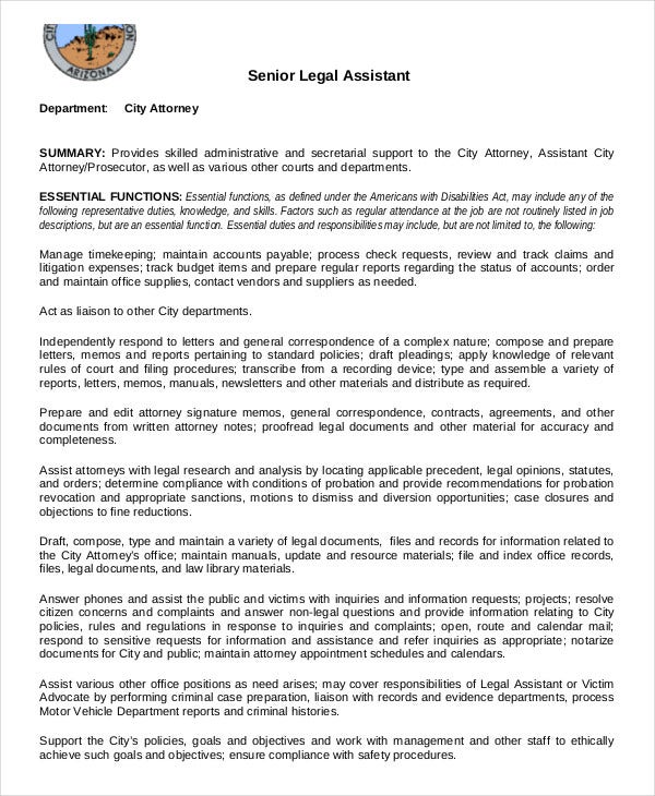 Legal Assistant Job Description Templates  Pdf Doc  Free