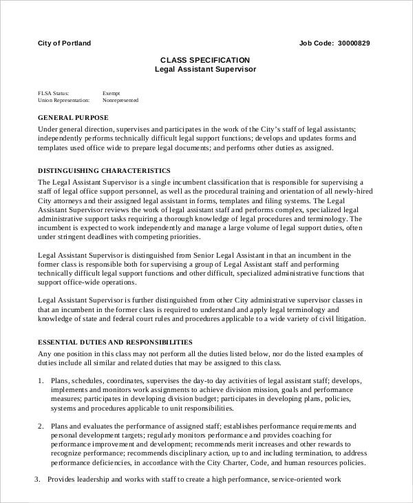 10 legal assistant job description templates pdf doc for Office junior job description template
