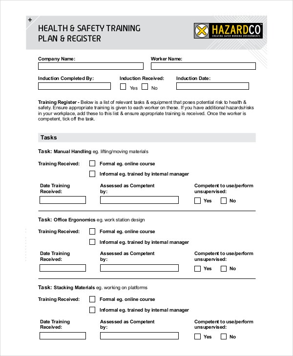 Health Safety Training Plan Template