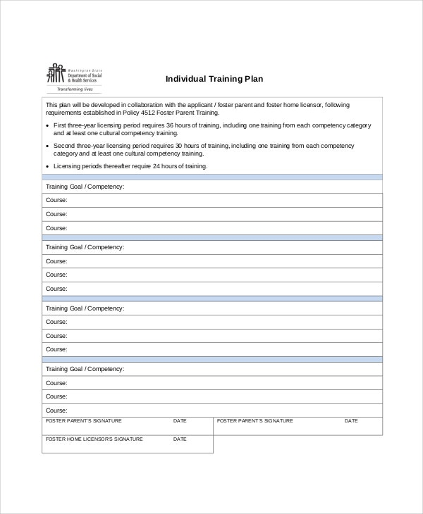 Individual Training Plan Template