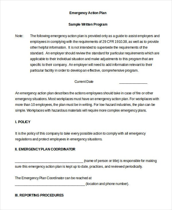 Emergency Action Plan Template - 9+ Free Sample, Example, Format ...