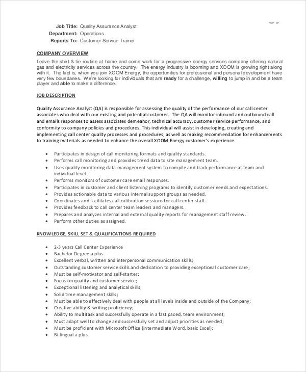 Call Center Quality Assurance Analyst Job Description