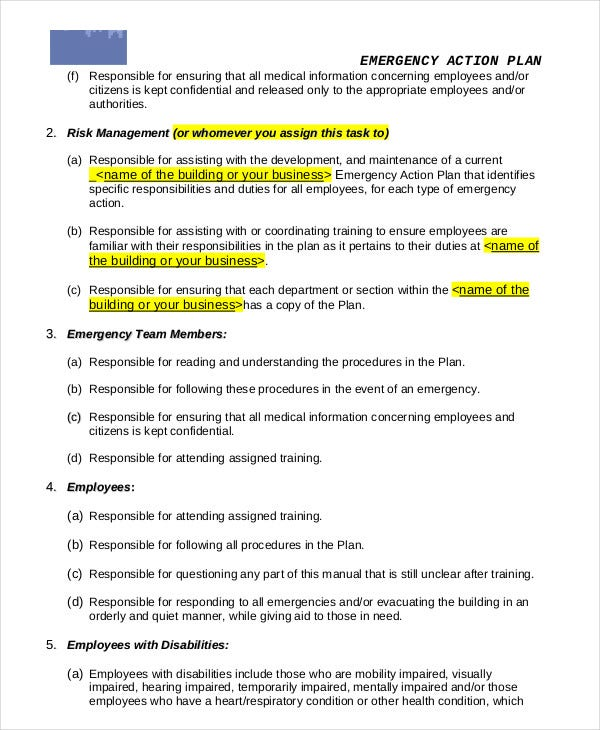 General Business Emergency Action Plan Template In PDF