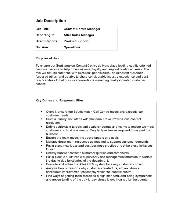 call center operations manager job description example