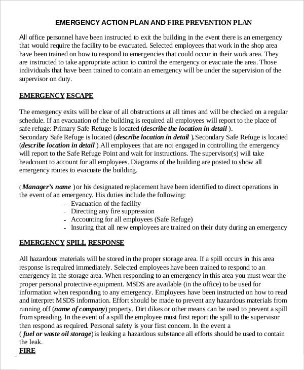 Emergency action plan template 9 free sample example for Emergency response plan template for small business