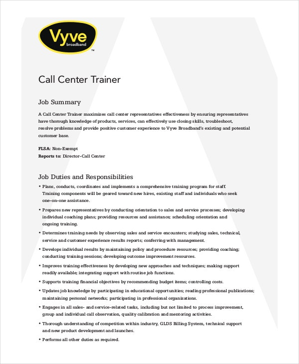 free call center trainer job description