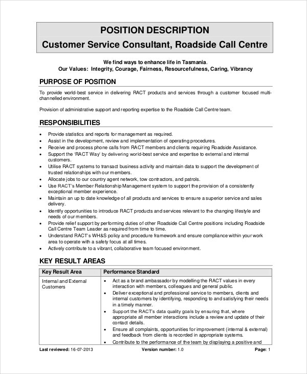 customer service consultant job description template