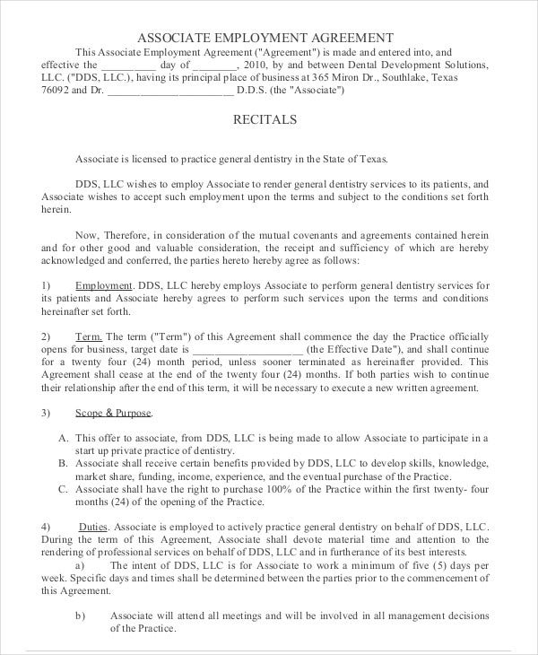 Employment agreement template 9 free sample example for Statement of terms and conditions of employment template