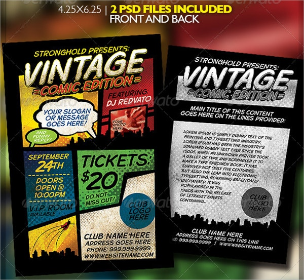 vintage event comic book template