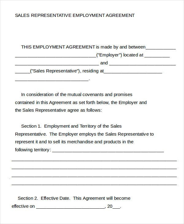 Employment Agreement Template   Free Sample Example Format