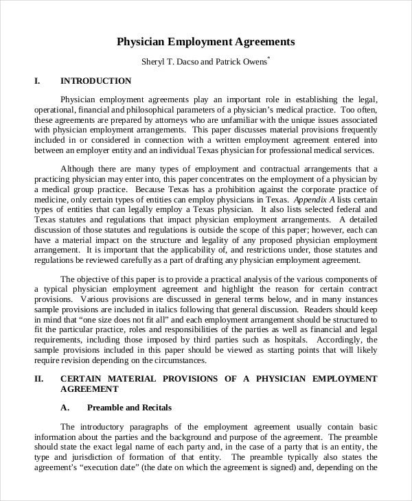 Sample Physician Employment Agreement
