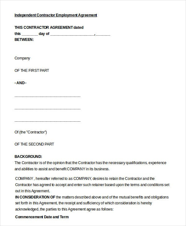 employment agreement template 9 free sample example format