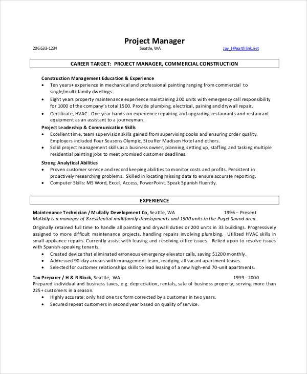 Manager Resume Example - 9+ Free Word, Pdf Documents Download