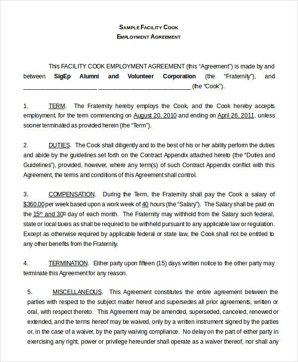 Employment Agreement Template - 9+ Free Sample, Example, Format